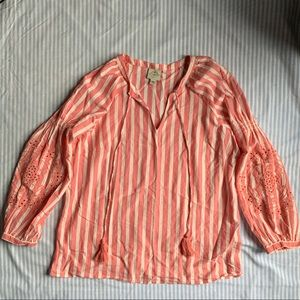 Pink and white stripes 3/4 sleeve blouse